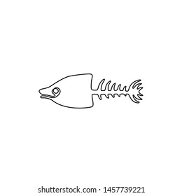 Fish bone continuous line drawing, tattoo, print for clothes and logo design, fish skeleton silhouette single line on a white background, isolated vector illustration.
