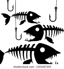 Fish bone or fishbone skeleton flat vector icon for wildlife apps