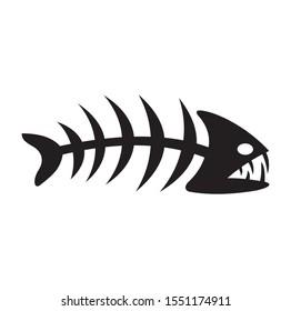 Fish bone piranha icon black vector