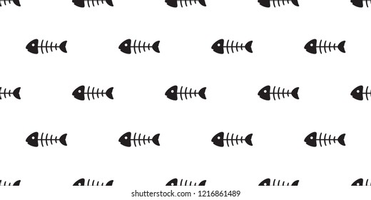 fish bone seamless pattern vector salmon tuna shark dolphin ocean sea tropical scarf isolated repeat wallpaper tile background