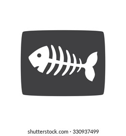 fish bone, fish skeleton.  gray icon.