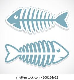 Fish bone sticker - vector illustration