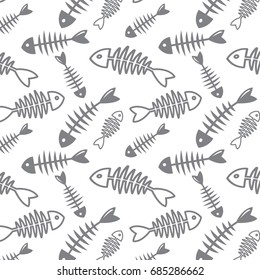 Fish bone vector pattern on white background