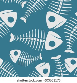 Fish bones seamless pattern. fishy Skeleton background