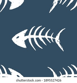 Fish bones Seamless pattern. Fish skeleton doodle, Hand drawn Cartoon Vector illustration.