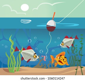 Fish at bottom looking at worm bait hook. Fishing water sea lake concept. Vector flat cartoon illustration