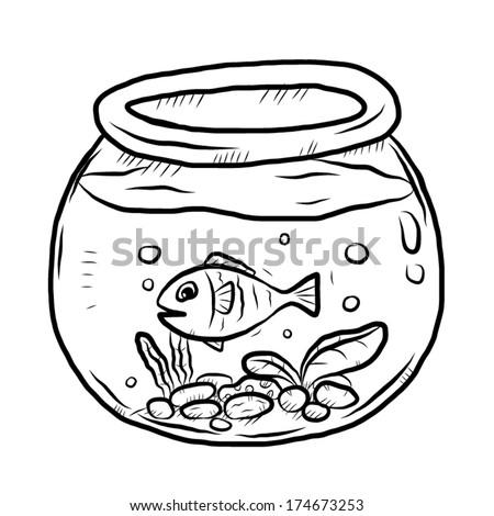 Fish Bowl Cartoon Vector Illustration Black Stock Vector Royalty