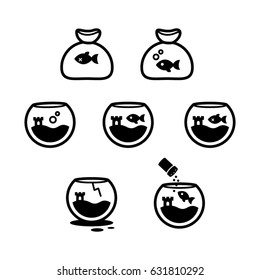 Fish bowl icono set