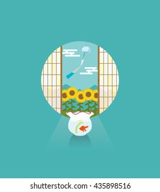 fish bowl and sunflower field