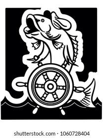 Fish Captain - Retro Clip Art Illustration