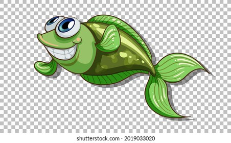 A fish cartoon character isolated on transparent background illustration