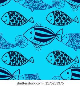 Fish cartoon seamless pattern vector illustration