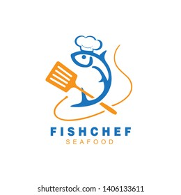 fish with chef's hat and spatula, logo design inspiration for restaurant, gourmet, Seafood