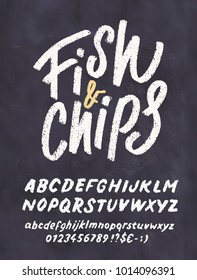 Fish and Chips. Chalkboard menu template.