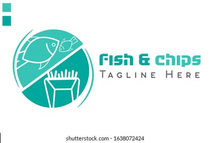 Fish & Chips colorful vector logo for restaurant or food service.