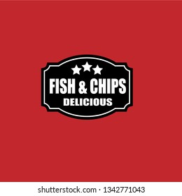 Fish & Chips - delicious,served here. label,sticker.vintage