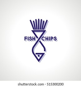 Fish and Chips Icon. Modern logo and sign design. Vector Illustration.