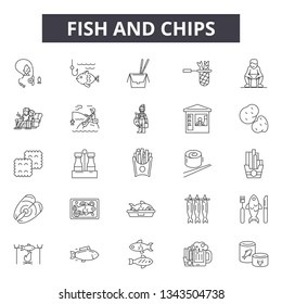 Fish and chips line icons for web and mobile design. Editable stroke signs. Fish and chips  outline concept illustrations