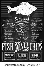 Fish and chips poster. Menu for fish restaurant or bar with a illustration on a blackboard. Simple drawn sketch in vector format.