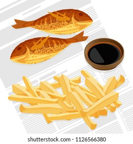 Fish and chips served with sauce vector illustration