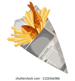 Fish and chips traditional fast food vector illustration