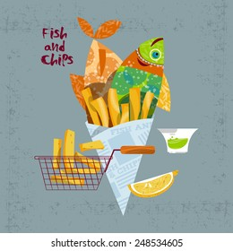 Fish and chips. Vector illustration