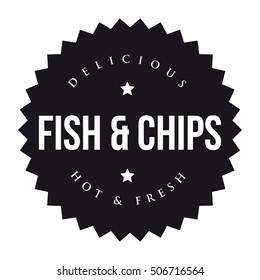 Fish and Chips vintage black stamp
