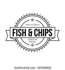 Fish and Chips vintage sign stamp vector