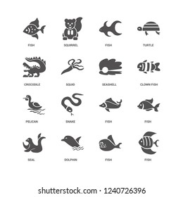 Fish, Clown fish, Seashell, Seal, Crocodile, Pelican, Dolphin, Fish icon 16 set EPS 10 vector format. Icons optimized for both large and small resolutions.