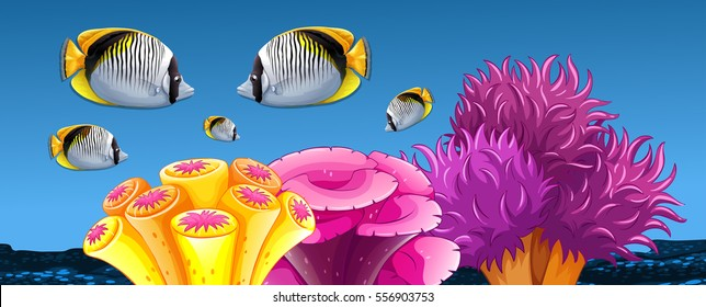 Fish and coral reef under the sea illustration