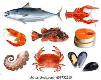 Fish, crayfish, mussels, octopus. 3d vector icon set. Sea food, realism style.