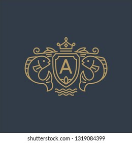 Fish with crown logo template - coat of arms in mono line style