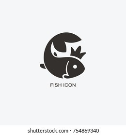 Fish in the crown logo template for design. Icon of seafood restaurant. Animals in a natural environment. Illustration of graphic flat style