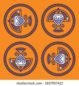 Fish design- Indian Traditional and Cultural Rangoli, Alpona, Kolam, or Paisley vector line art. Bengal art India. for textileprinting, logo,wallpaper