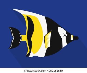 Fish design over blue background, vector illustration.