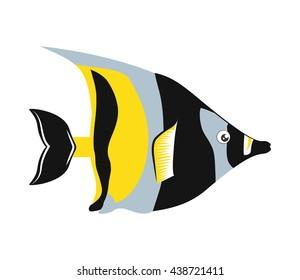 Fish design over isolated background. Sea life icon, vector grap