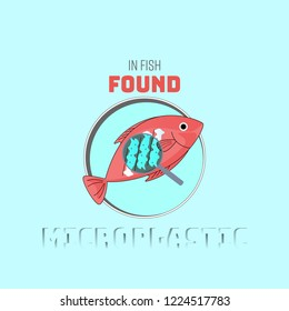 Fish dish with contamination of plastic particles enlargement. Microplastic found concept. Vector illustration.