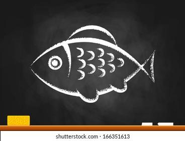 Fish drawing on blackboard