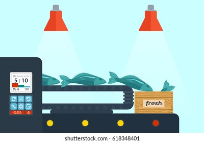 Fish factory, fish production. Conveyor with fish. Packing fish in a wooden box. Flat design