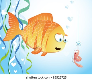 Fish fall in love with worm