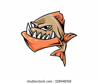 fish fang piranha amazon mascot cartoon character