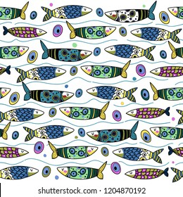 Fish fanny pattern vector seamless colored grafic on isolated background.