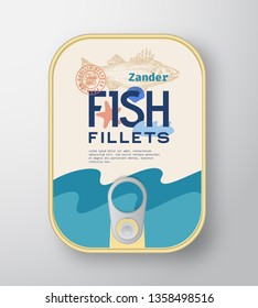 Fish Fillets Aluminium Container with Label Cover. Abstract Vector Premium Canned Packaging Design. Modern Typography and Hand Drawn Zander or Pikeperch Silhouette Background Layout. Isolated.