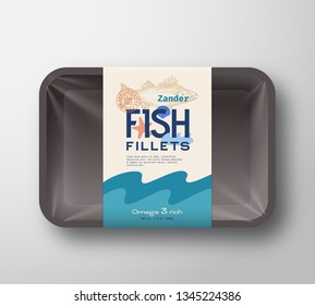Fish Fillets Pack. Abstract Vector Fish Plastic Tray Container with Cellophane Cover. Packaging Design Label. Modern Typography Hand Drawn Zander Silhouette with Colorful Elements Layout. Isolated.