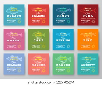 Fish Fillets Premium Quality Twelve Labels Set. Abstract Vector Fish Packaging Design Layout. Retro Typography with Borders and Hand Drawn Fish Silhouettes Background. Isolated.
