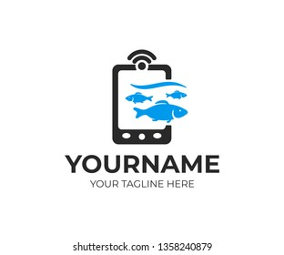 Fish finder, echo sounder, depth finder and fish searching, logo design. Fish, fishing, piscatorial equipment and electronic device, vector design and illustration