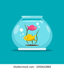 Fish in Fishbowl. Aquarium Vector Illustration.
