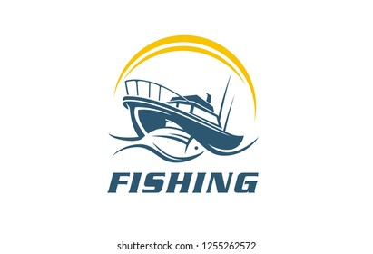 Fish, fishing boat symbol, sign, icon, vector illustration of sea food restaurant. Literature display of sport event on the water. Fishing boat on adventure on ocean, lake, river, or sea.