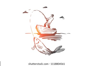 Fish, fishing, catch, boat concept. Hand drawn man fishing in boat and catch big fish concept sketch. Isolated vector illustration.
