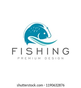 fish fishing logo icon vector template